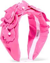 Miu Miu Embellished Faux Patent-leather Headband - Pink