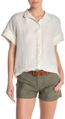 Frame Solid Short Sleeve Linen Blend Shirt