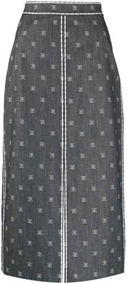 Fendi Karligraphy motif pencil skirt
