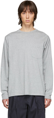 Beams Grey Pocket Long Sleeve T-Shirt