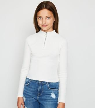 New Look Girls Ribbed Zip Neck Top