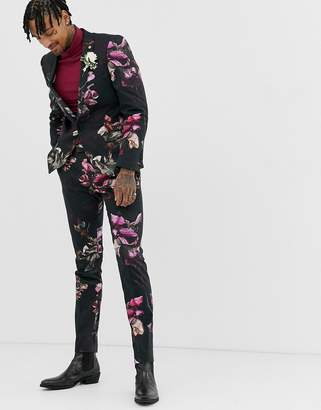 Twisted Tailor super skinny suit trousers in floral print-Black