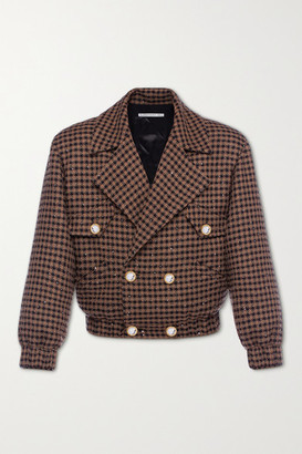 Alessandra Rich Vichy Embellished Houndstooth Tweed Bomber Jacket - Brown