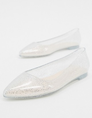 London Rebel pointed jelly ballets in silver glitter
