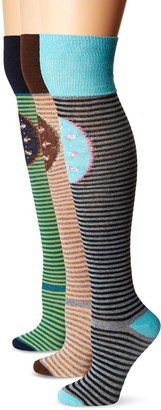 K. Bell Women's Stripes and Floral Knee Patch Over The Knee Sock