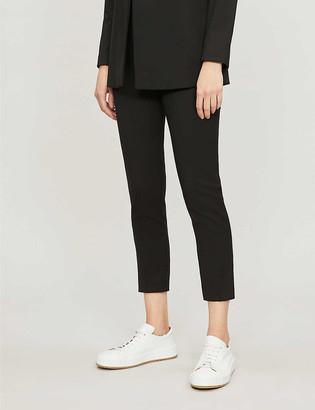 Sandro Velvet-trimmed straight mid-rise stretch-woven trousers