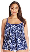 Maxine Of Hollywood Women's Plus-Size Spot Off Tiered Tankini