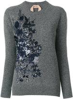 No.21 sequinned floral jumper - women - PVC/Virgin Wool - 38