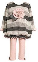 Bonnie Baby Infant Striped Bubble-Hem Top & Bow-Accented Leggings Set