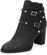 Valentino Rockstud Leather Chunky-Heel Boot, Nero