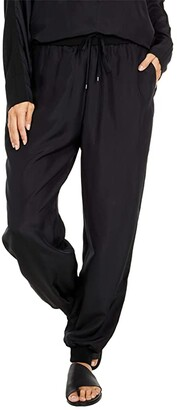 Eileen Fisher Ankle Slouch Pants with Knit Cuff (Black) Women's Casual Pants