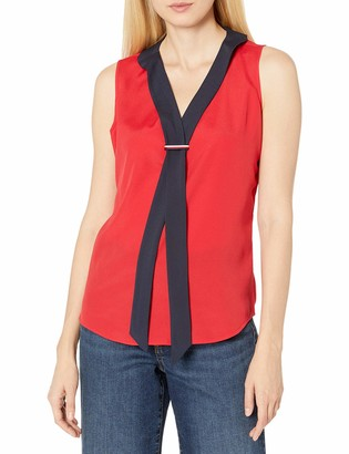 Tommy Hilfiger Women's Sailor Tie Front Sleeveless Woven Top