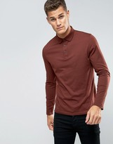 Asos Long Sleeve Jersey Polo In Red