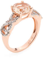 Rina Limor Fine Jewelry Women's Rose-Tone Rhodium Plated Sterling Silver, Morganite & 0.09 Total Ct. Diamond Crossover Ring
