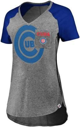 Majestic Women's Gray/Royal Chicago Cubs Static Pocket Raglan V-Neck T-Shirt