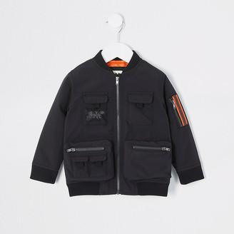 River Island Mini boys black Svnth utility bomber jacket