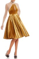 Gianni Bini Blair Pleated Velvet Dress with Layered Blouse