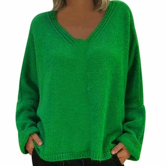 LEXUPE Women Autumn Winter Jumpers Warm Comfortable Cardigans Casual Fashion Sweatshirts Ladies Loose Deep V Neck Solid Color Knitted Tops Sweater and Blouse (Green L)