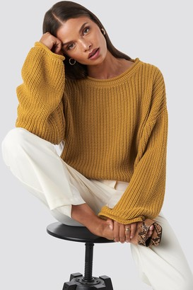 NA-KD Cropped Boat Neck Knitted Sweater