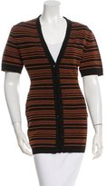 Alaia Striped Short Sleeve Cardigan