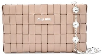 Miu Miu Woven Leather Clutch Bag