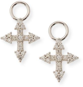Jude Frances 18k Provence Tiny Cross Diamond Earring Charms