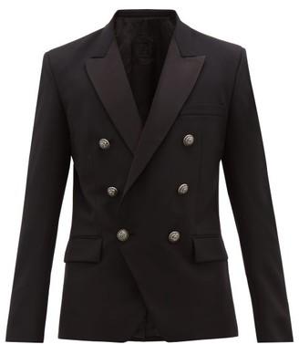 Balmain Double-breasted Satin-lapel Jacket - Mens - Black