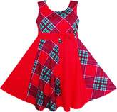 Sunny Fashion JJ51 Girls Checked Contrast Dress Party