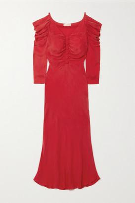 MATÉRIEL Ruffled Cupro Midi Dress - Red
