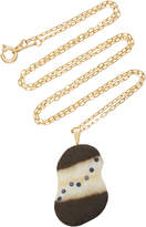 Cvc Stones M'O Exclusive: 18K Gold Grey Beach Stone and Sapphire Drizzle Necklace