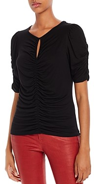 Frame Ruched Keyhole Top