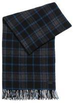 HUGO BOSS Men Z Plaid Wool Scarf One SizeBlue