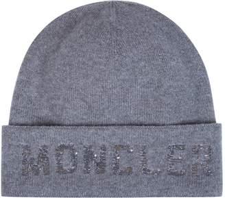 Moncler Wool-Cashmere Logo Beanie