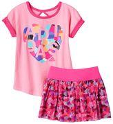 adidas Girls 4-6x Mosaic Heart Tee & Tutu Skort Set