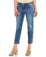 Democracy Slim Straight Leg Embroidered Raw Hem Ankle Jeans
