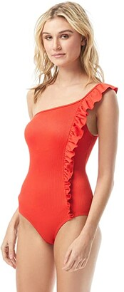 Vince Camuto Marea Texture Ruffle One Shoulder One-Piece w/ Removable Cups (Poppy) Women's Swimsuits One Piece