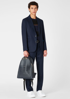 Paul Smith Navy Striped Emboss Leather Backpack