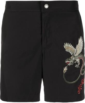 Alexander McQueen Dragon Embroidered Swim Shorts