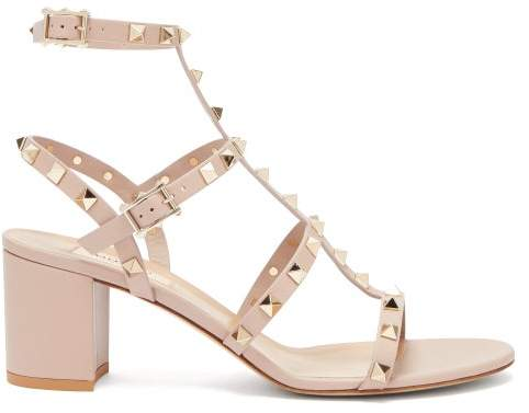 b6e1a832c17 Rockstud Block Heel Leather Sandals - Womens - Nude