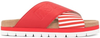 MSGM Striped Cross Strap Slippers