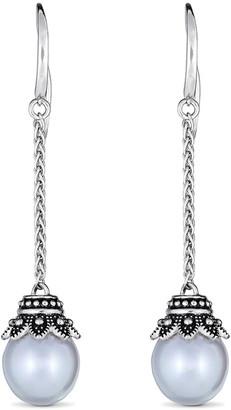 BELPEARL Silver 11Mm Freshwater Dangle Earrings