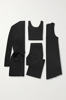 Skin Ribbed Jersey Travel Set - Black
