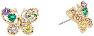 Betsey Johnson CZ Multi Butterfly Stud Earrings (Multi) Earring