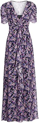 Shoshanna Marella Floral Silk-Blend Long Flare Dress