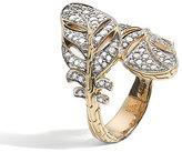 John Hardy 18k Diamond Feather Bypass Ring, 0.73tcw, Size 7