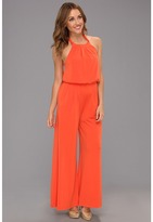 Vince Camuto Jumpsuit w/ Self-Fabric Tie At Neck (Spicy Orange) - Apparel