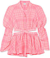 Rosie Assoulin Open-back Checked Voile Top - Baby pink