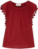 The Great The Tassel Embellished Broderie Anglaise Cotton Top - Claret