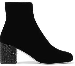Rene Caovilla Rene' Caovilla Crystal-embellished Velvet Ankle Boots
