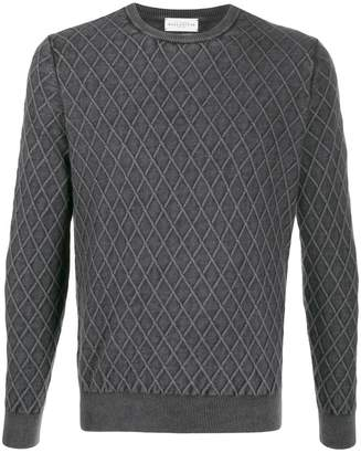 Ballantyne Diamond pattern knit jumper
